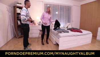 With her husband watching, Lolly Ink gave the burglar a cum-hungry blowjob
